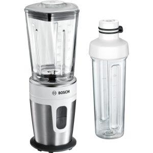 Blender de masa Bosch MMBM7G2M VitaStyle Mixx2Go 350W vas sticla ThermoSafe 0.6 litri 2 viteze sticla Tritan 2Go 500ml alb - inox polisat