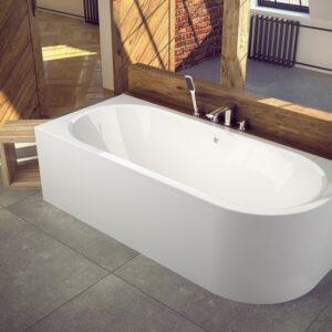 Cada baie asimetrica Besco Avita 150x75cm acril orientare stanga