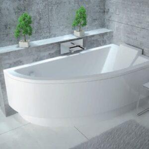 Cada baie asimetrica Besco Praktika 140x70cm acril orientare dreapta