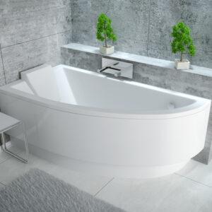 Cada baie asimetrica Besco Praktika 140x70cm acril orientare stanga