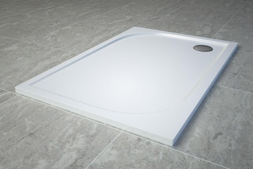 Cadita de dus dreptunghiulara SanSwiss Tracy WAA 80x120cm slim marmura sintetica alb