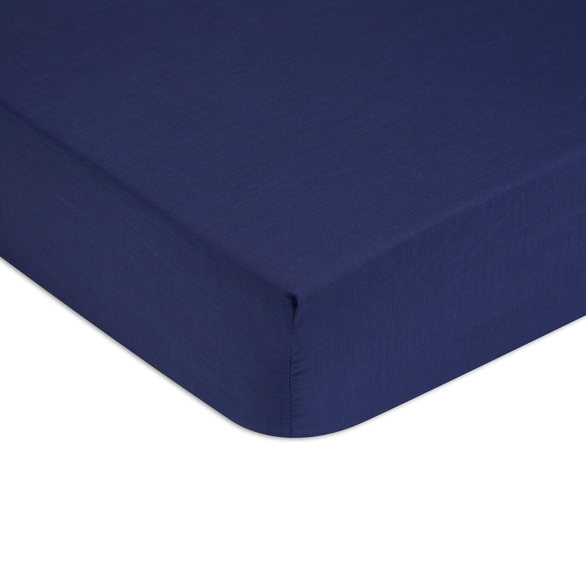 Cearceaf de pat cu elastic Tommy Hilfiger Unis Percale 180x200cm Albastru Navy