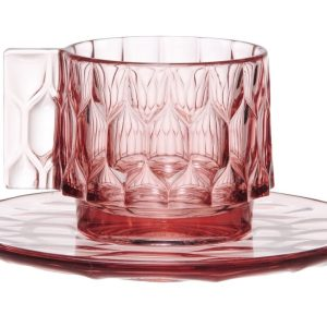 Ceasca si farfuriuta Kartell Jellies Family design Patricia Urquiola roz transparent