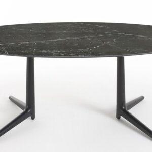 Masa ovala Kartell Multiplo XL design Antonio Citterio 192x118cm h75cm blat cu finisaj marmura negru