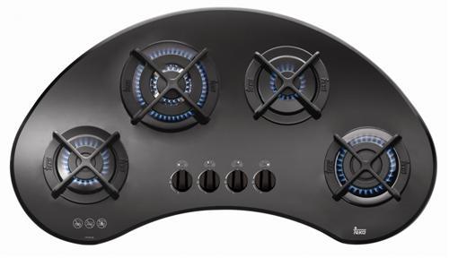Plita incorporabila gaz Teka VR 90 4G AI AL TR CI cristal 4 arzatoare gratare fonta 90cm forma bumerang