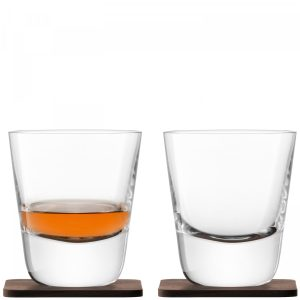 Set 2 pahare LSA International Whisky Arran 250ml cu suport lemn nuc