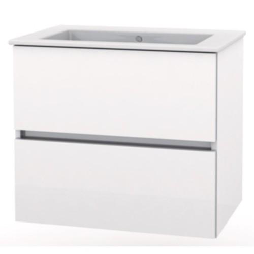 Set mobilier Roca Cube lavoar si dulap baza cu 2 sertare 65x43cm alb