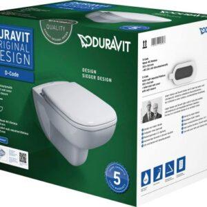 Set vas WC suspendat Duravit D-Code Rimless si capac inchidere lenta